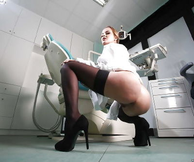 Seducing European babe in doctors uniform Candy Alexa does good job